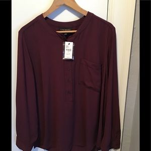 Maroon & Black Blouse